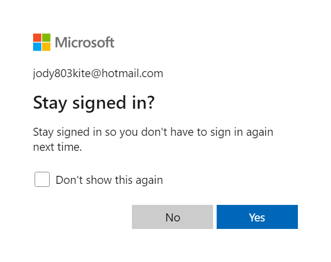 Новая форма Stay signed in? в Outlook