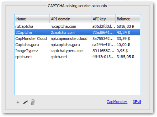List of CAPTCHA services accounts in MailBot