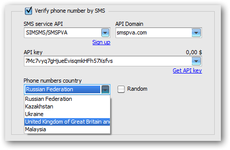 Phone number country selection for selected SMS-activation service
