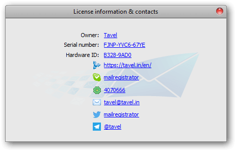 Mailbot's license information and contacts