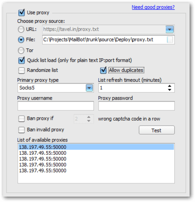 New setting Allow duplicates on Proxy tab in MailBot