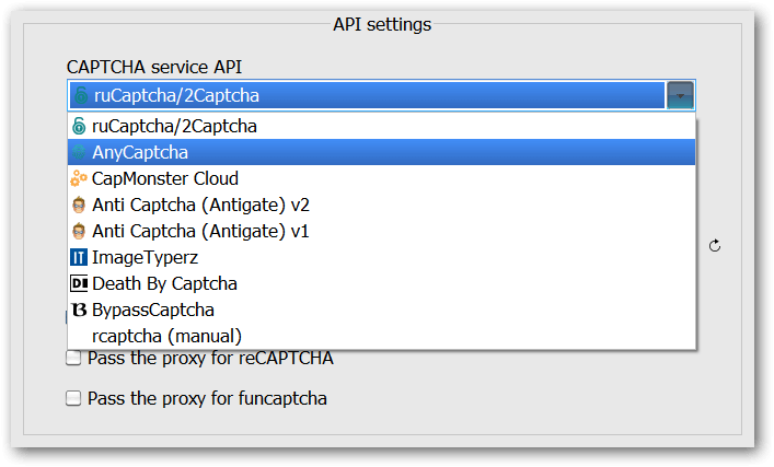 Your custom API in the CAPTCHA solving services API list
