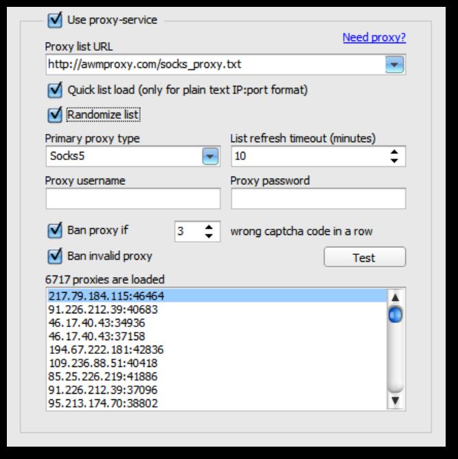New Proxy tab interface