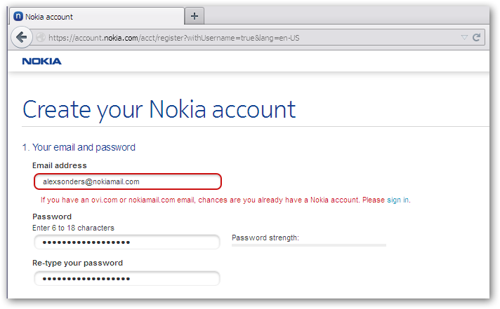 Nokiamail existing email required