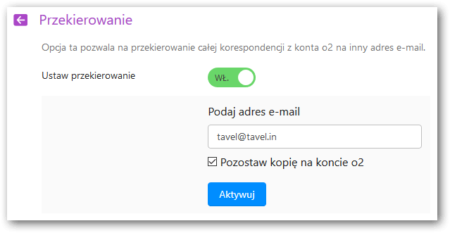 Enabled forwarding setting in O2.pl account