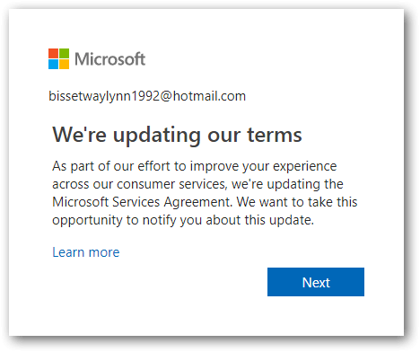 New Outlook form We're updating our terms