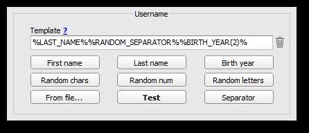 Username template generator interface